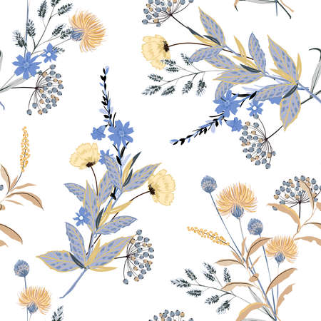 Botanical seamless vector pattern with leaves ,bloomong floral in monotone blue and beige colors ,Design for fashion , fabric, textile, wallpaper, cover, web , wrapping and all prints on white