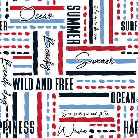Summer beach holiday mood wording with hand drawn stripe ,blue,red, and light blue seamless pattern vector eps 10,Design for fashion , fabric, textile, wallpaper, cover, web , wrapping and all prints