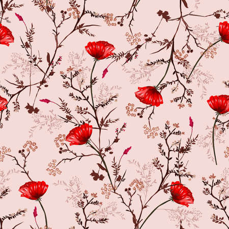 Beautiful vintage Seamless Pattern hand drawn red blooming poppy flowers and Botanical with Floral Decoration Texture. Vintage Style.Design for fashion , fabric, textile, wallpaper, cover, web , wrapping and all prints