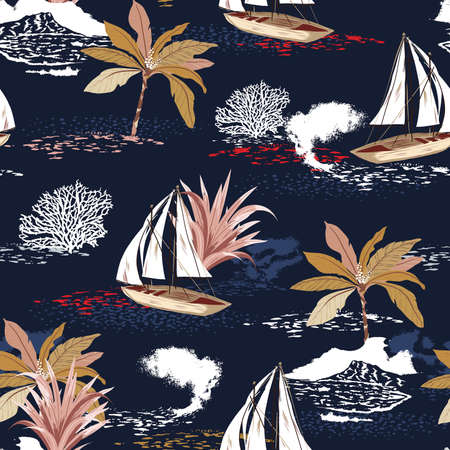 Beautiful tropical island seamless pattern with palm trees, mountain, corals ,sailboat silhouettes, sun, illustration,Design for fashion , fabric, textile, wallpaper, cover, web , wrapping and all prints on dark navy blue