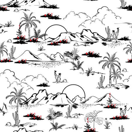 Line hand sketch vector desert Cactus and mountains and flowers samless pattern vector,Design for fashion , fabric, textile, wallpaper, cover, web , wrapping and all prints on white 向量圖像