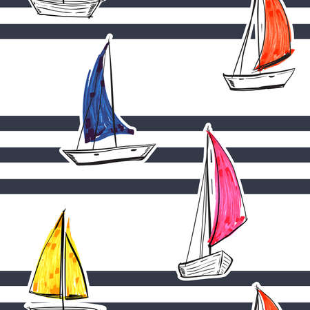 Blue stripe with hand drawn sailboats seamless pattern nautical mood ,Design for fashion , fabric, textile, wallpaper, cover, web , wrapping and all prints