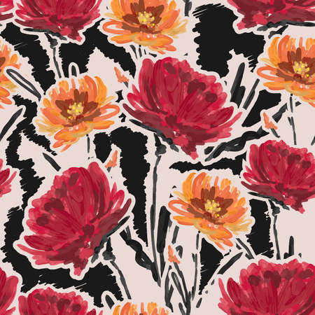 Beautiful artistic hand drawn brushed floral background. Trendy Graphic Design ,Design for fashion , fabric, textile, wallpaper, cover, web , wrapping and all prints 向量圖像
