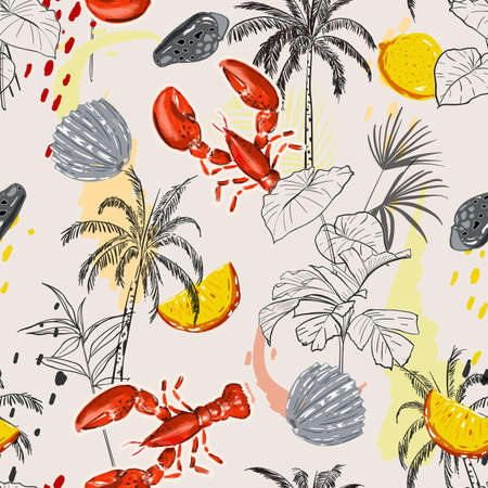 Hand drawn island with summer elements ,lobster,palm tree,shell, lemon and jungle leaves seamless pattern vector  ,Design for fashion , fabric, textile, wallpaper, cover, web , wrapping and all prints
