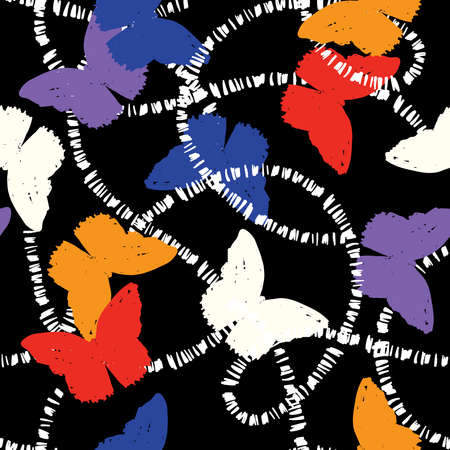 Trendy colourful hand drawn silhouette butterfly flying with white line seamless pattern vector EPS10, Design for fashion , fabric, textile, wallpaper, cover, web , wrapping and all prints on black