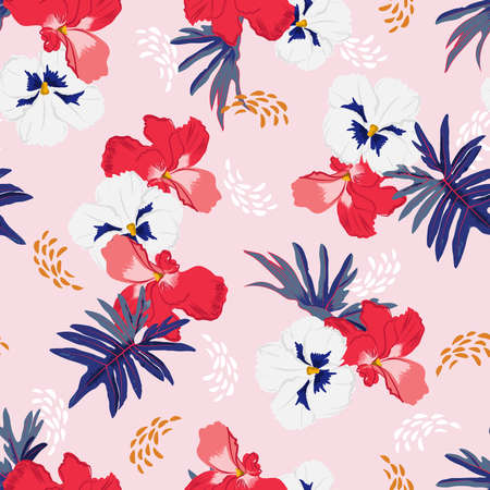 Sweet mood of Hand drawn Blooming garden botanical floral semaless pattern vector EPS10, Design for fashion , fabric, textile, wallpaper, cover, web , wrapping and all prints on light pink