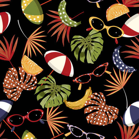 Seamless pattern summer vibes ,hand drawn beach elements such as sunglasses, palm leaves,banana, orange, umbrella,Design for fashion , fabric, textile, wallpaper, cover, web , wrapping on black