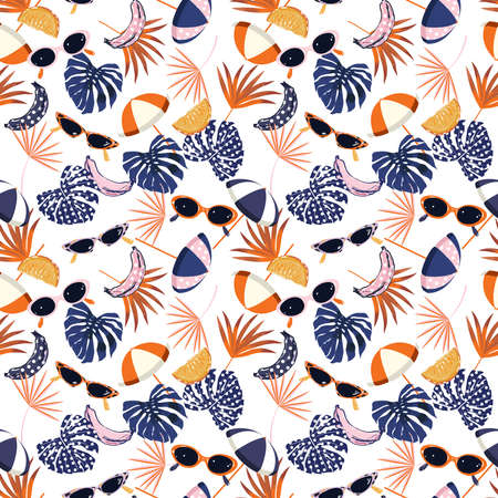 Sweet seamless pattern summer vibes ,hand drawn beach elements such as sunglasses, palm leaves,banana, orange, umbrella,Design for fashion , fabric, textile, wallpaper, cover, web , wrapping and all prints