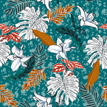 Trendy tropical botanical, monstera leaves and lily flowers on african batik background summer mood seamless pattern