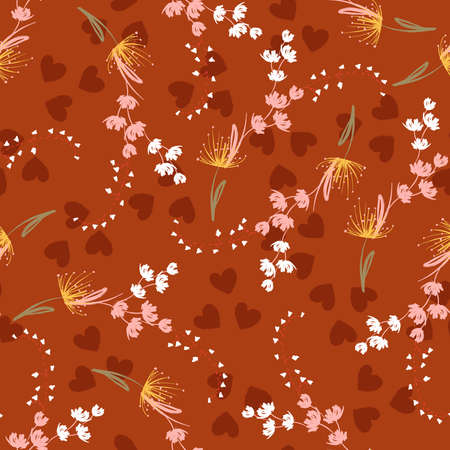 Hand drawn small delicate floral Seamless repeat pattern with botanical flowers on heart background
