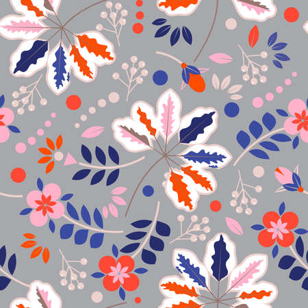 Colorful Sweet mood of geometric gardens flower blooming florals and leaves ,seamless pattern in vector EPS10 向量圖像