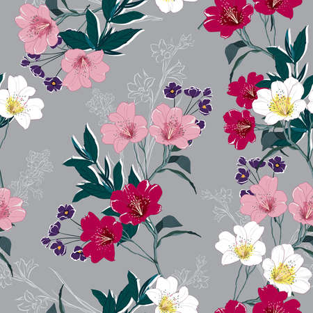 Trendy  Floral pattern in the many kind of flowers. Tropical botanical  Motifs scattered random. Seamless vector texture. Printing with in hand drawn style on light grey background color.