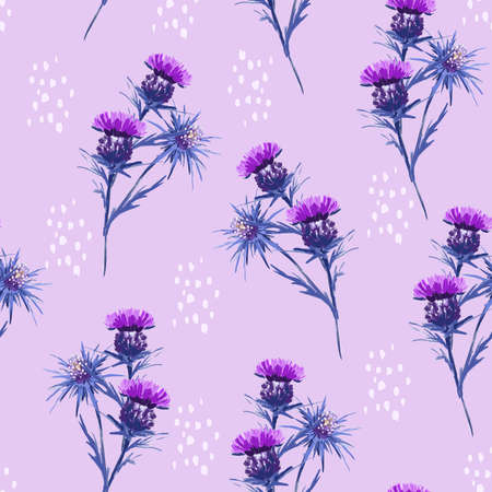 Artistic meadow flower hand painted wild floral seamless pattern vector EPS10