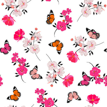 Beautiful seamless pattern vector blooming pink florals and flying butterfly design for fashion, fabric, wallpape 向量圖像