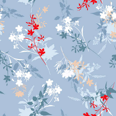 Modern Silhouette branches floral seamless pattern vector EPS10