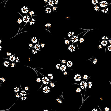 Free hand daisy floral in small scale print seamless pattern vector on black background 向量圖像