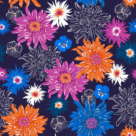 Colorful fresh blooming garden floral and Botanical line sketch seamless pattern vector EPS10