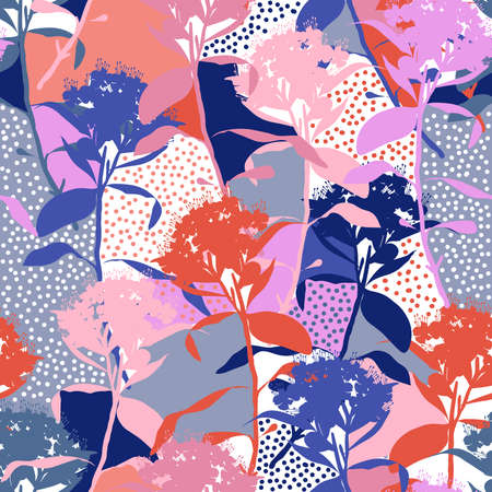 Colorful Modern hand drawn of silhouette floral stem of floral with small polka dots seamless pattern vector