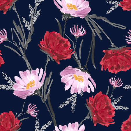 Artistic flower hand painted blooming floral seamless pattern flower vector EPS10