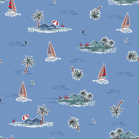 Hand drawn Trendy Summer Ocean island seamless pattern vector. Landscape with palm trees,boat and flamingo,shark, vacation vibes vector beach elements hand sketch style on cool blue color background