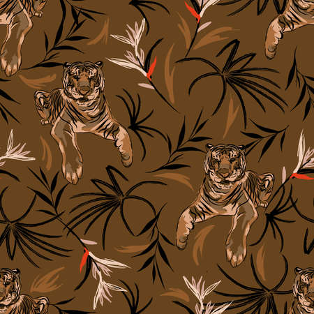 Hand drawn Seamless pattern with tigers and tropical vibes ,exotic plants and bird of paradise florwer Illustration vector design,Design for fashion , fabric, textile, wallpaper, cover, web , wrapping and all prints on brown color 向量圖像