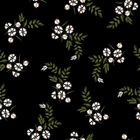 Dark Summer Trendy white blowing daisy Floral pattern meadow flowers. Wild botanical Motifs scattered random. Seamless vector texture. For fashion prints in hand drawn style on black