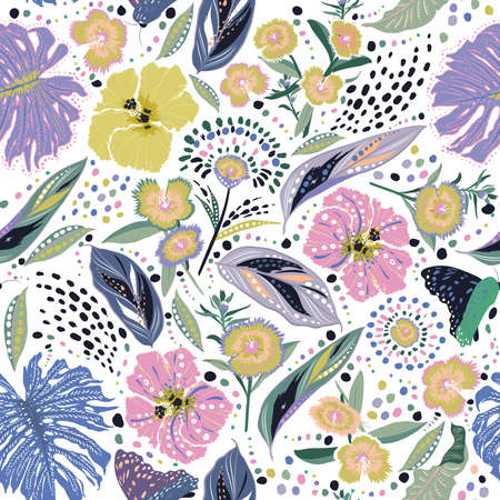 Colour and fresh Hand drawn blooming graden floral ,Botanical leaf i,many kind of flowers with stylish polka dots seamless pattern vector,Design for fashion , fabric, textile, wallpaper, cover, web , wrapping and all prints 向量圖像