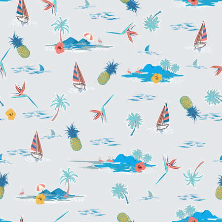Stylish Summer Beautiful Island seamless seamless pattern , Landscape with palm trees, beach , hibiscus flower,pineapple,boat,ship,mountain bird of paradise and ocean vector hand drawn style on light grey background color.