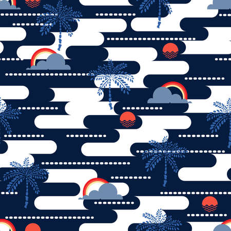 Modern summer vibes of geometric ocean ,sea,sun, plam tree ,sky and rainbow seamless pattern vector EPS10,Design for fashion , fabric, textile, wallpaper, cover, web , wrapping and all prints on navy blue background