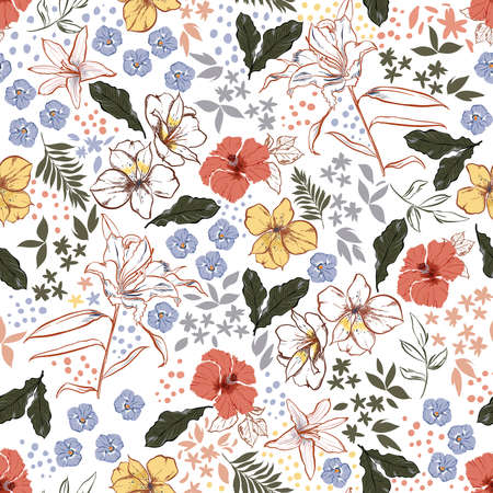 Vinatge Colour and Hand drawn blooming graden floral ,Botanical leaf i,many kind of flowers with stylish polka dots seamless pattern vector,Design for fashion , fabric, textile, wallpaper, cover, web , wrapping and all prints