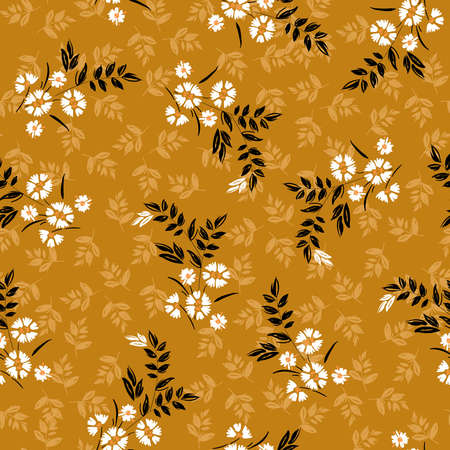 Vintage of liberty small booming white floral and meadow flowers seamless pattern in vector,Dessign for fashion,fabric,wallpaper,wrapping and all prints on retro yellow background.