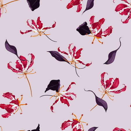 Hand drawn Blooming Flame lily floral garden botanical flower seamless pattern vector EPS10, Design for fashion , fabric, textile, wallpaper, cover, web , wrapping on light lilac color background 向量圖像
