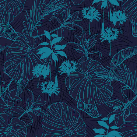Tropical Jungle leaves seamless pattern. layer on line texture with palm leaves and exotic forest leaf. Design for fashion , fabric, textile, wallpaper, cover, web , wrapping and all prints on dark navy blue