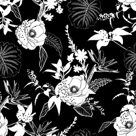 Hand drawn outline black and white Silhouette of botanical flower and leaves mixedwith polka dots seamless pattern vector,Design for fashion , fabric, textile, wallpaper, cover, web , wrapping