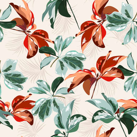 Tropical forest botanical Leaves Motifs scattered random mixed with palm leaves, Seamless vector texture pattern Printing with in hand drawn style on light cream color background