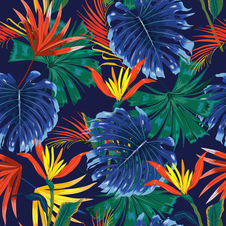 Trendy Dark jungle tropical forest ,contrasts with colorful Exotic flower and foliage leaves ,Design for fashion , fabric, textile, wallpaper, cover, web , wrapping and all prints on navy blue background color Ilustración de vector