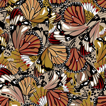 Beautiful stylish seamless pattern hand drawn butterfly wings vector illustration ,Design for fashion , fabric, textile, wallpaper, cover, web , wrapping and all prints 向量圖像