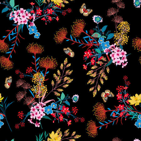 Elegant Blooming Graden floral and butterflies in small hand draw flower witn many kind of botanical plants seamless background Liberty style,Design for fashion , fabric, textile, wallpaper, cover, web , wrapping and all prints on black