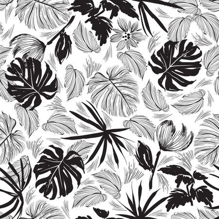 Stylish Minimal hand drawn sketch tropical leaves brushed strokes style Black and white mood Design for fashion , fabric, textile, wallpaper, cover, web , wrapping and all prints