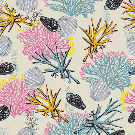 Beautiful Seamless natural pattern with corals and algae pastel mood background Vector illustration,Design for fashion , fabric, textile, wallpaper, cover, web , wrapping and all prints on light beige