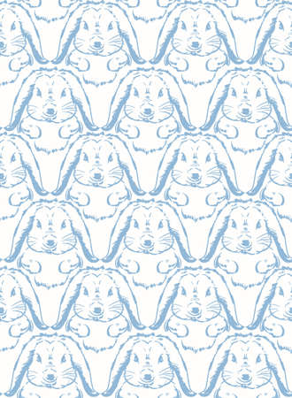 Hand drawn cute bunny blue line sketch seamless pattern , Rabbit Design for fashion , fabric, textile, wallpaper, cover, web , wrapping and all prints on white 向量圖像