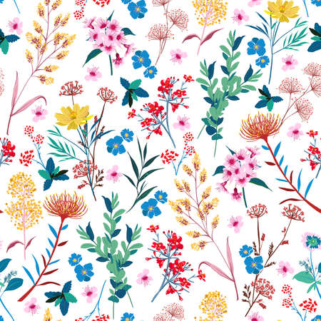 Elegant Blooming Graden floral in small hand draw flower witn many kind of botanical plants seamless background Liberty style,Design for fashion , fabric, textile, wallpaper, cover, web , wrapping and all prints