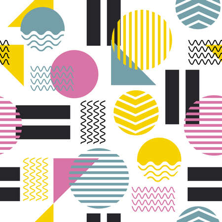 Colorful geometric shape background. Seamless pattern Modern form circle, stripes, line abstract background Design for fashion , fabric, textile, wallpaper, cover, web , wrapping and all prints on white