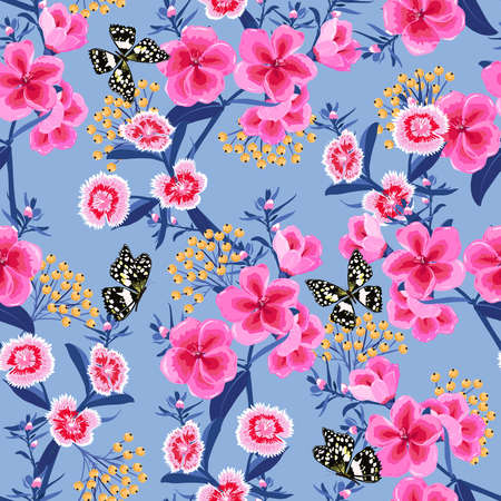 Sweet Blooming Pink Meadow flowers in the garden with butterflies soft and gentle mood seamless pattern 向量圖像