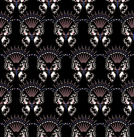 Hand drawn Modern stylish butterfly repeated seamless pattern vector EPS10,Design for fashion , fabric, textile, wallpaper, cover, web , wrapping and all prints on black