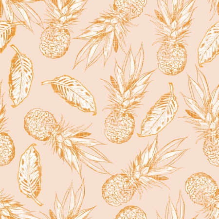 Retro hand drawn pineapple and  summer foliage with vintage texture seamless pattern 向量圖像