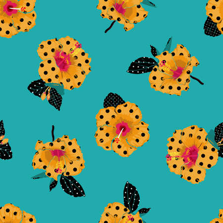 Beautiful Yellow blooming Hibiscus flower summer vibes fill in with polka dots seamless pattern 向量圖像