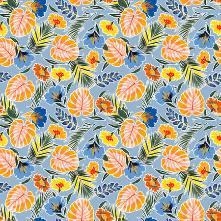 Trendy Colorful and bright summer hand drawn seamless pattern with leaves flowers ,tropical monstera , foliage , Background with florals vector on modern style on light blue