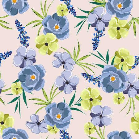 Blooming garden Floral seamless pattern in in sweet gentle mood of botanical flowers. 向量圖像