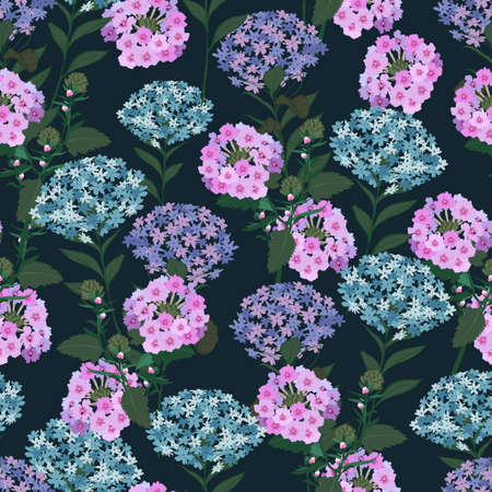 Full bloom Hydrangea Garden floral , delicate flower and wildflowers pink, seamless pattern
